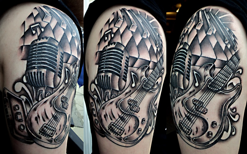 Half Sleeve Band Guitar Tattoo Design