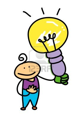 Happy Cartoon Kid With Light Bulb Tattoo Design