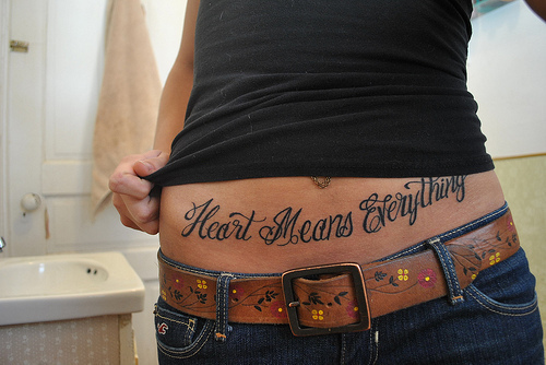 Heart Means Everything Belly Tattoo Design