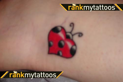 Heart Shape Lady Bug Tattoo Design