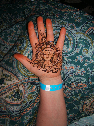 Henna Buddhist Tattoo On Palm