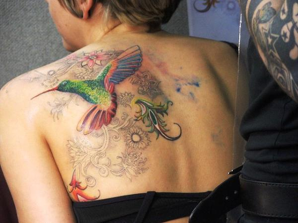 Humming Bird Tattoo On Back For Women