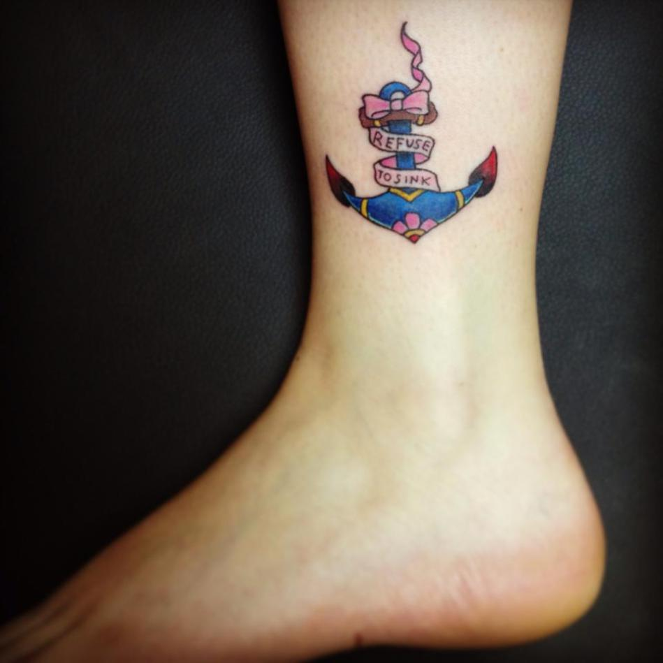 I Refuse To Sink Anchor Tattoo On Ankle