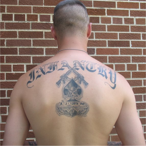 Infantry Army Tattoo On Upper Back
