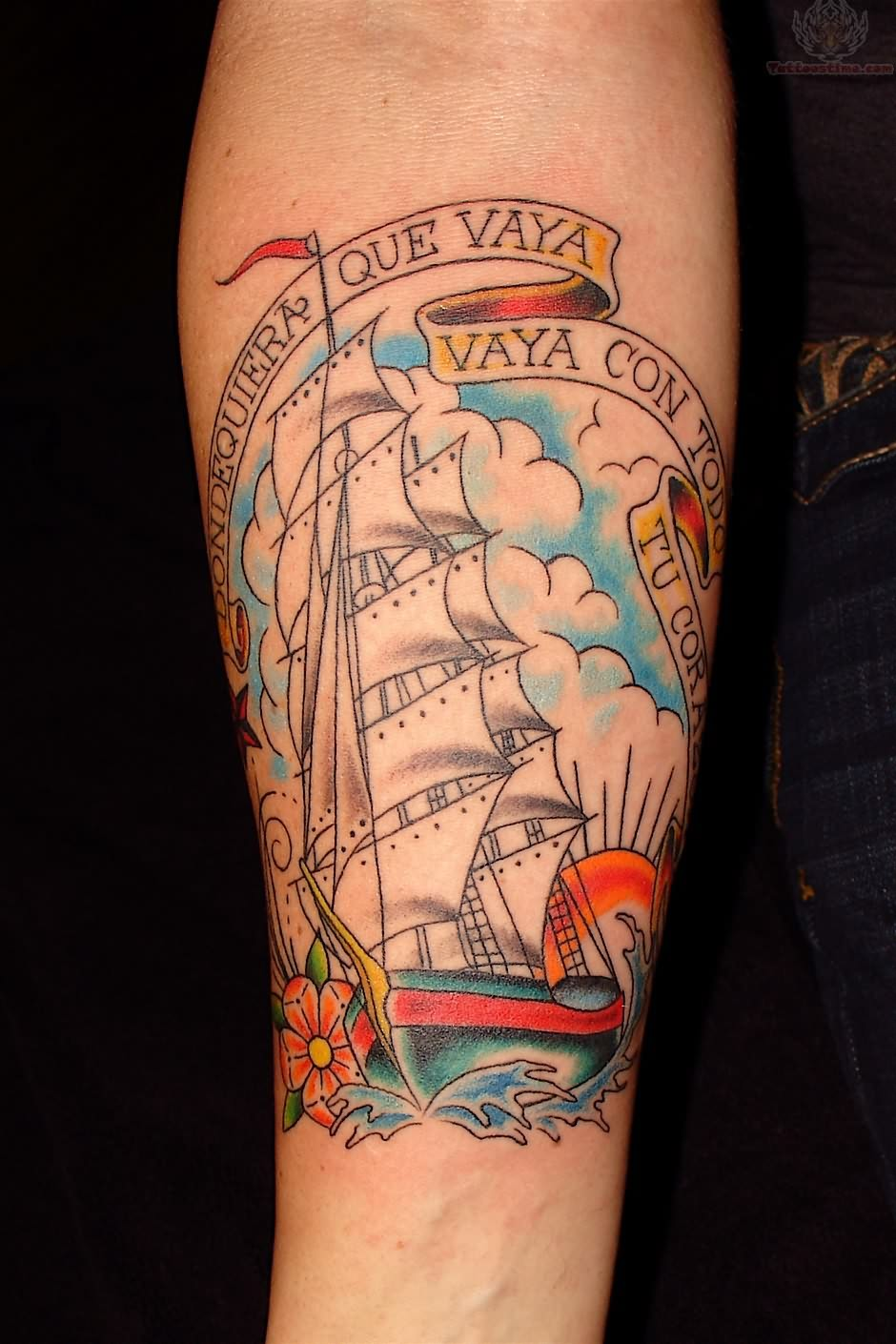 Joey Ship Tattoo On Arm