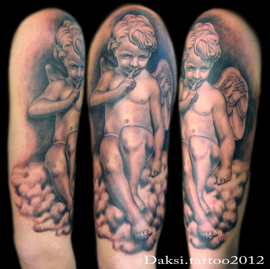 Keep Quiet Baby Angel Tattoo Designs