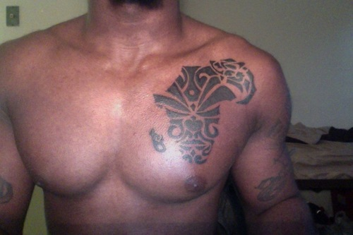 African Map Tattoo On Chest