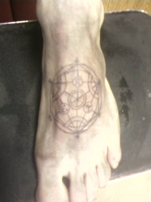 Alchemy Circle Tattoo On Foot