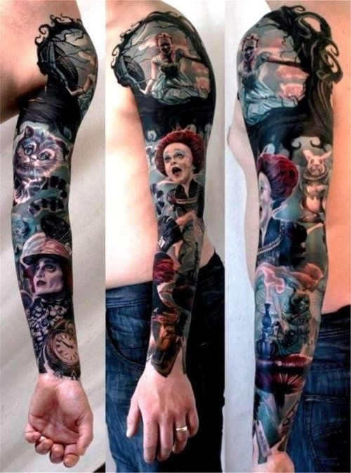 Alice In Wonderland Cartoon Tattoo On Sleeve