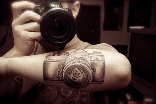 Amazing Camera Tattoo Design On Forearm