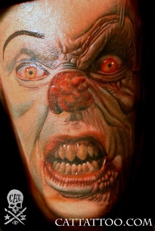 Angry Clown Face Tattoo Design