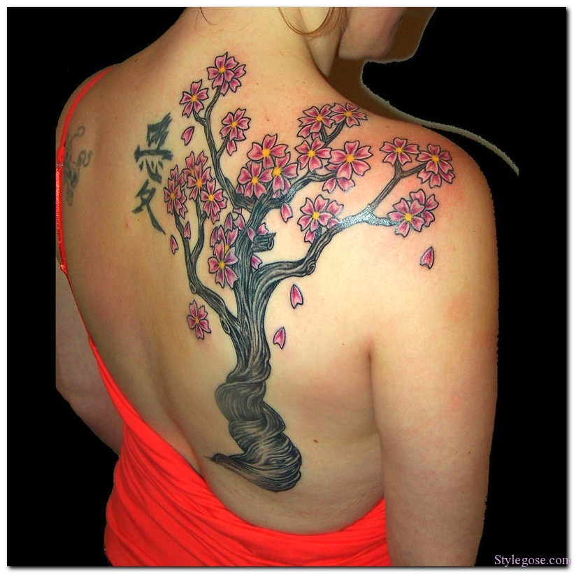 Asian Letters & Cherry Blossom Tattoo Design