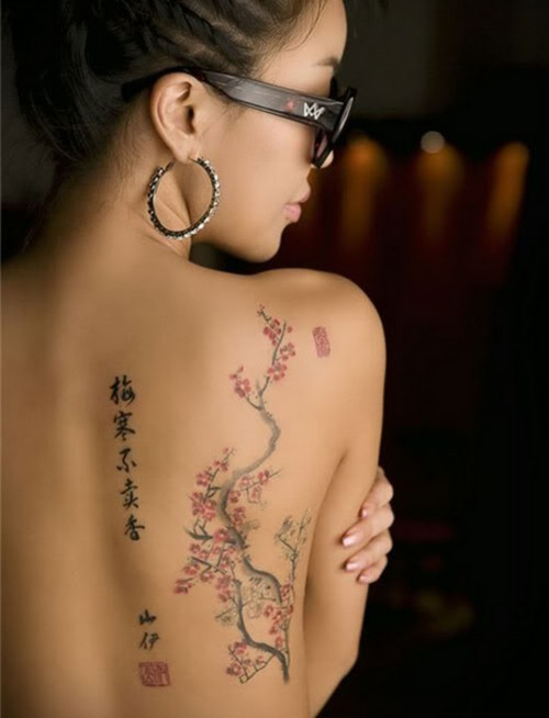 Asian Words & Cherry Blossom Tattoo On Back
