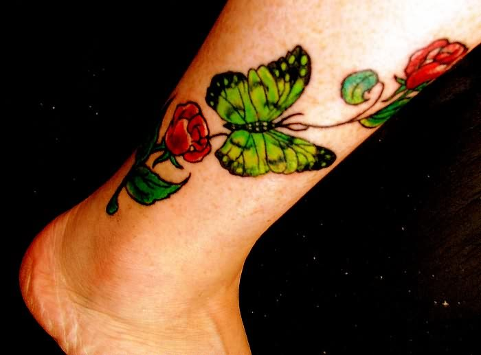 Attractive Butterfly Ankle Tattoo