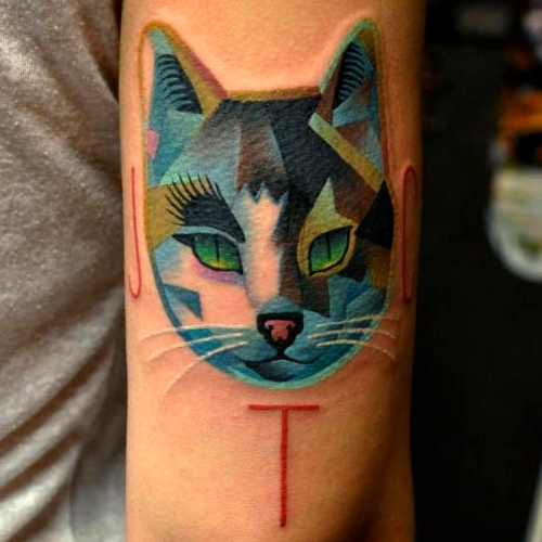 Awesome Cat Face Tattoo Design