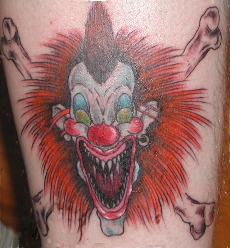 Big Clown Face Tattoo Design