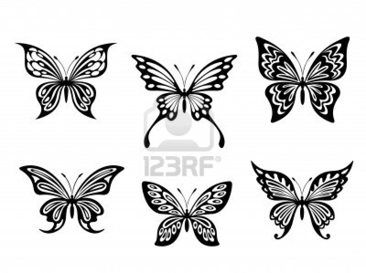 Black Butterfly Tattoo & Silhouettes Isolated On White Background