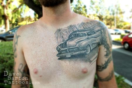 Black & Grey Car Tattoo On Chest
