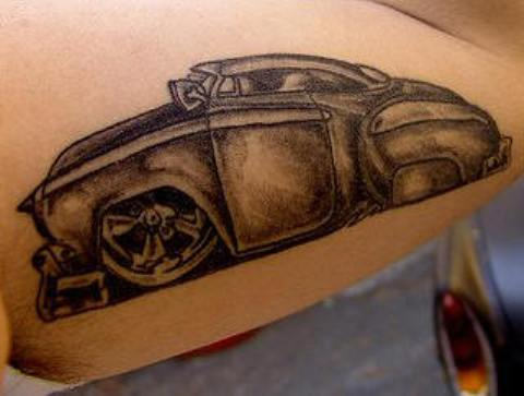 Black & Grey Ink Car Tattoo Design
