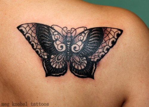 Black Ink Butterfly Tattoo On Back Shoulder