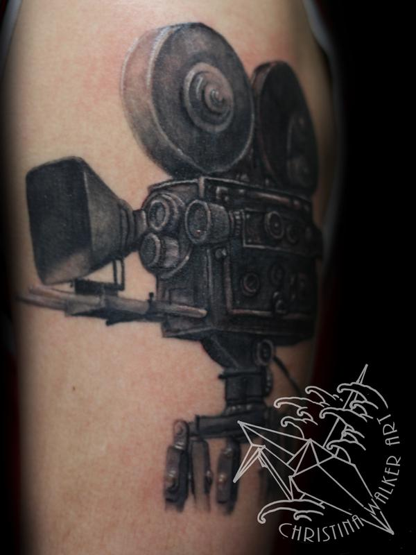 Black Ink Cinema Camera Tattoo Design