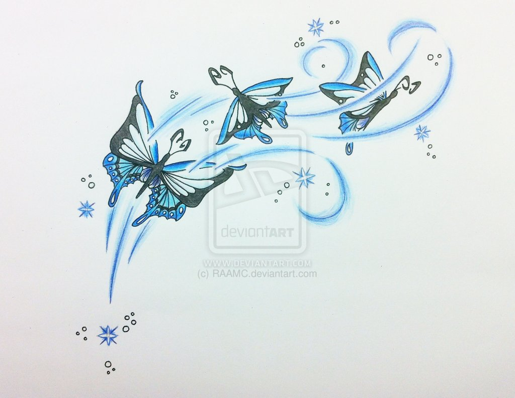Blue Butterflies Tattoo Designs