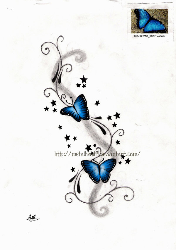 Blue Butterflies With Stars Tattoo Design