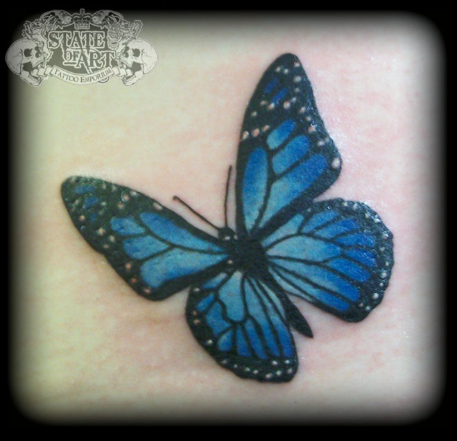 Image result for small blue butterfly wrist tattoo