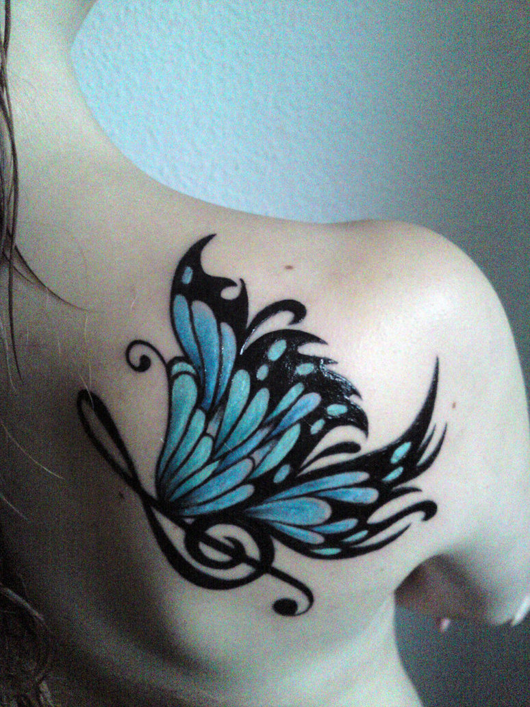 Blue Butterfly Tattoo On Back Shoulder