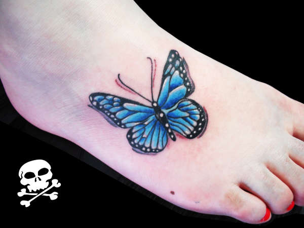 Blue Butterfly Tattoo On Foot