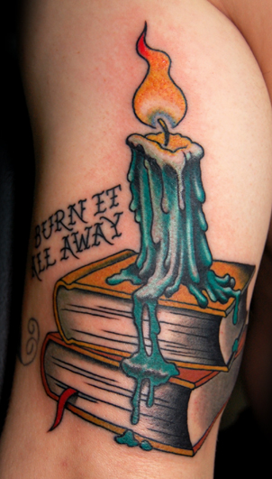 Books Candle Tattoo Design