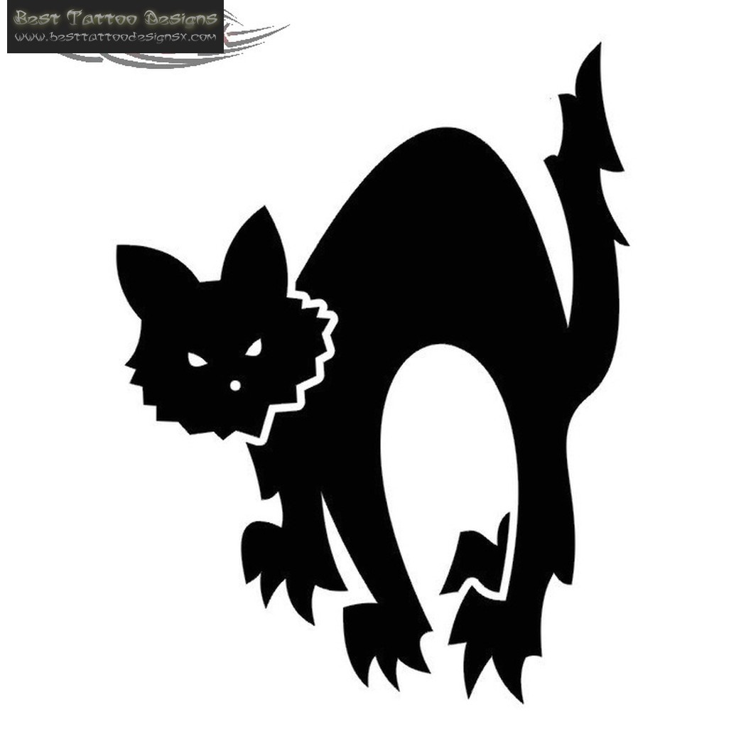 Brilliant Black Cat Tattoo Design
