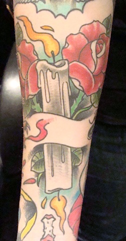 Burning Candle Tattoo With Banner