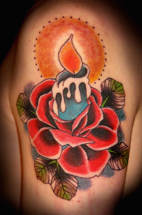 Burning Candle With Red Rose Tattoo Design