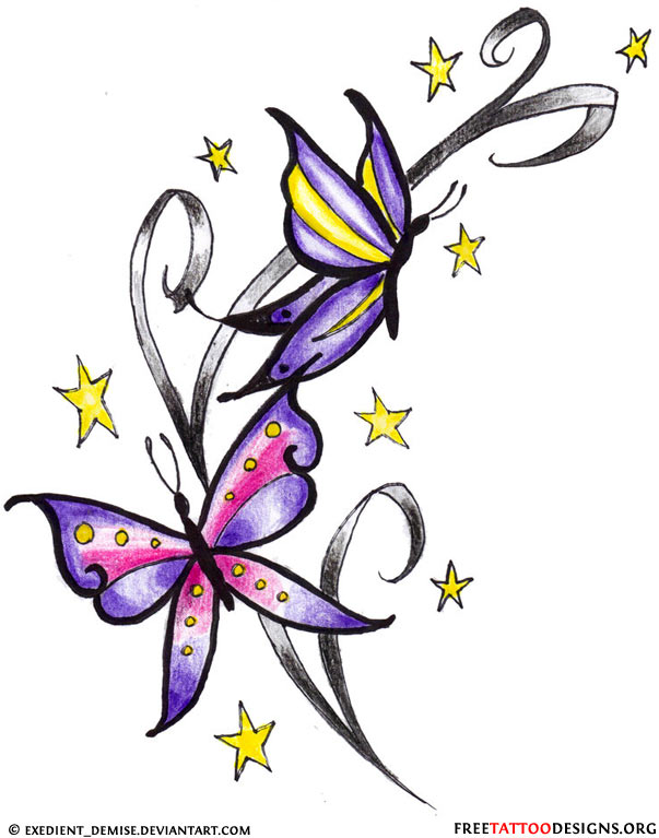 Butterflies Stars Tattoo Designs