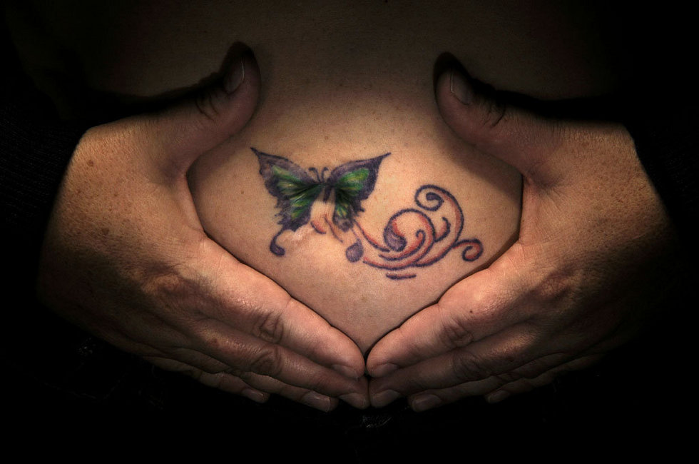 Butterfly Belly Button Tattoo