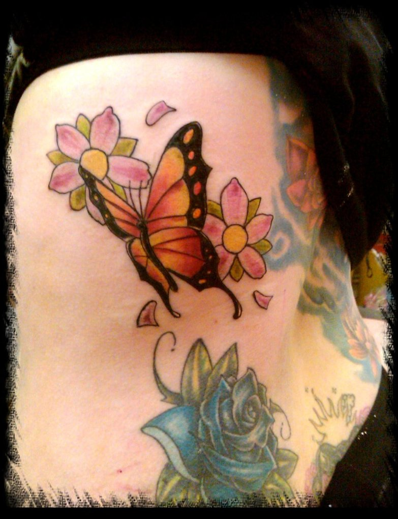 Butterfly & Flower Tattoo On Side