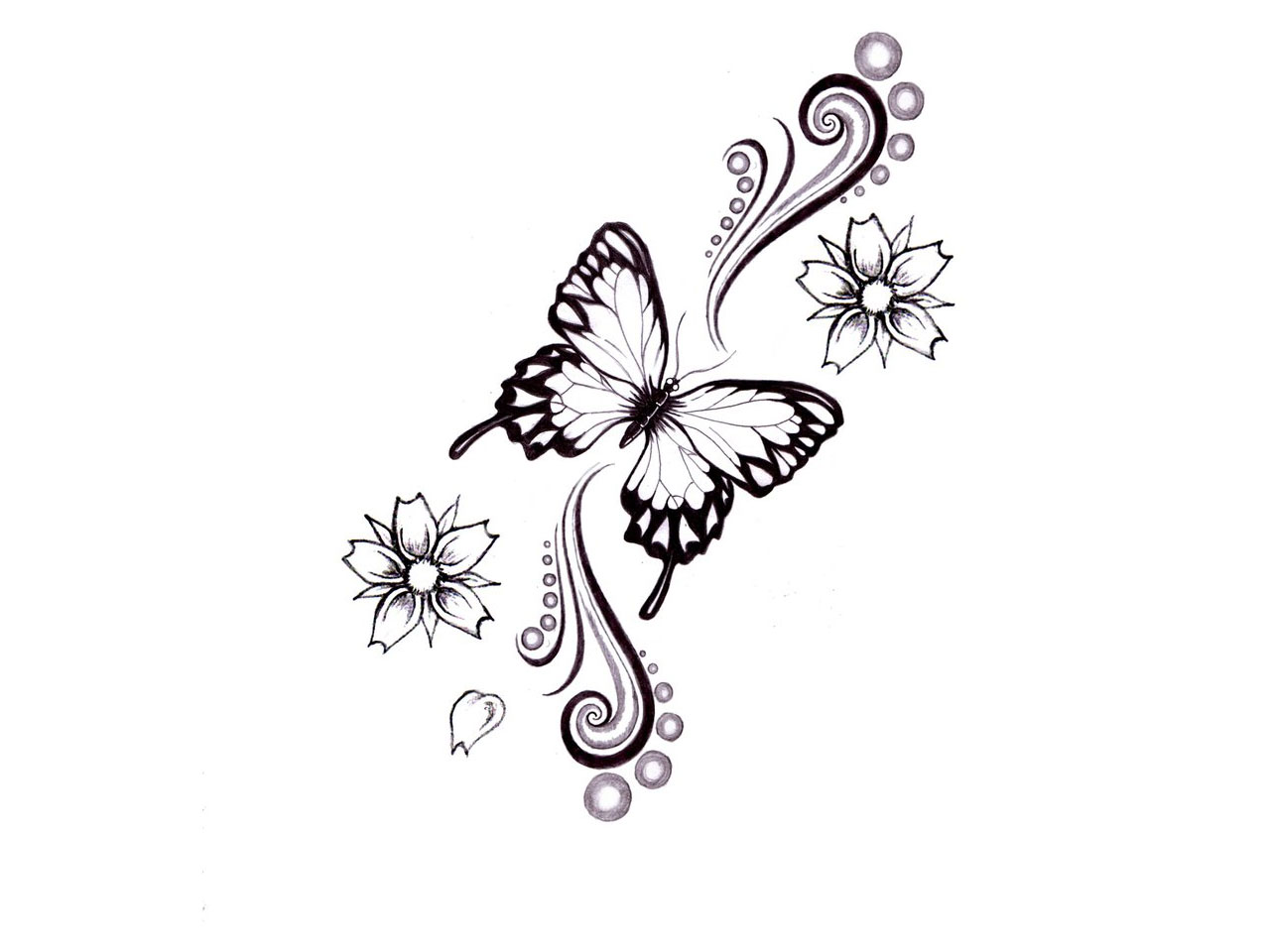 Butterfly & Flowers Tattoo Design