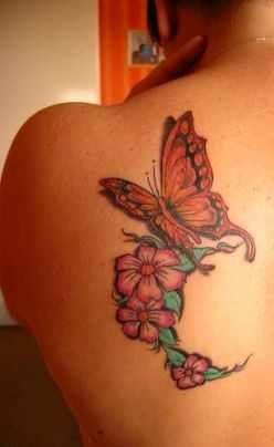 Butterfly & Flowers Tattoo On Back Shoulder