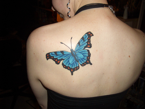 Butterfly Tattoo On Shoulder Back For Girls