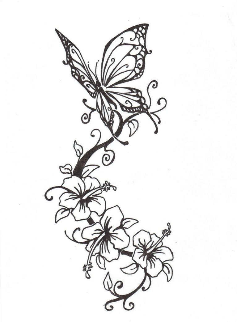 tattoo flowers with tribal Flowers Butterfly Tattoobite.com  Design With  Tattoo