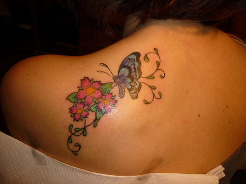 Butterfly With Flowers Tattoo On Shoulder Back