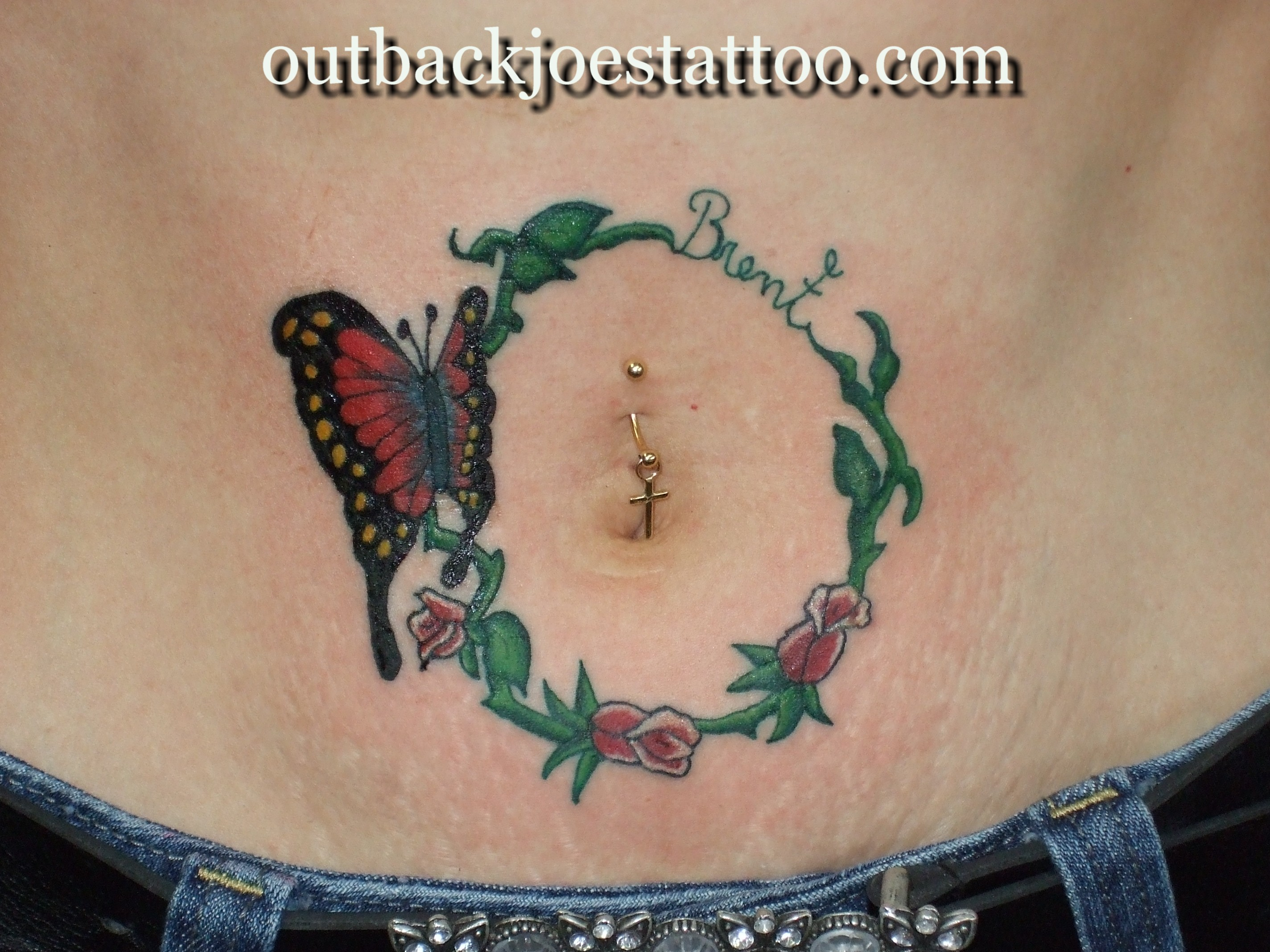 Butterfly With Roses & Vines Tattoo Around Belly Button