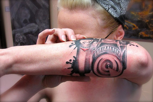 Camera Tattoo On Forearm