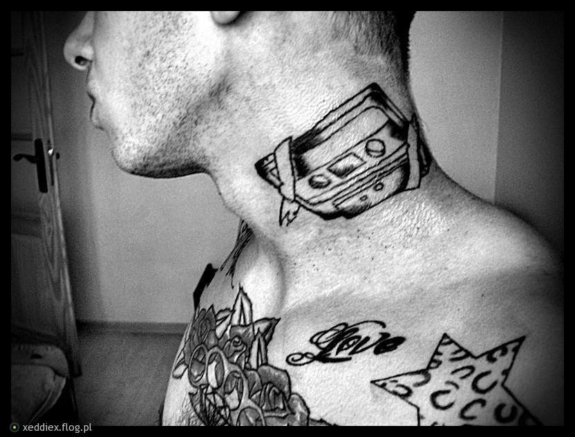 Camera Tattoo On Neck For Men