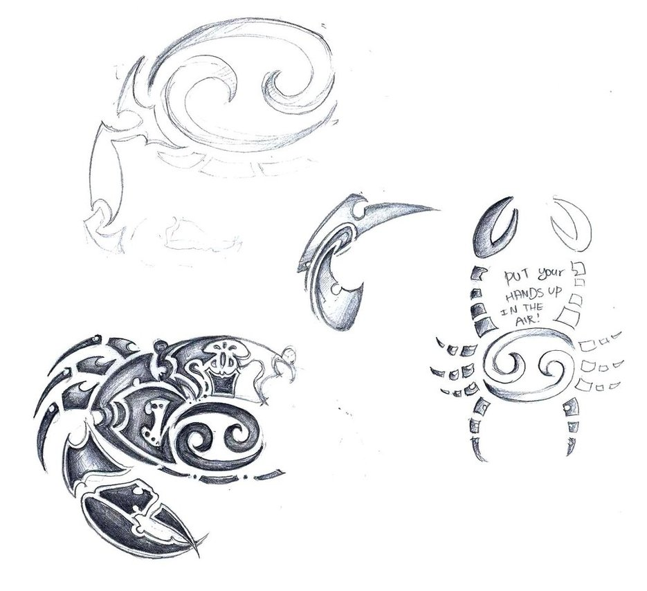 Cancer Zodiac Sign Tribal Tattoo Sketch