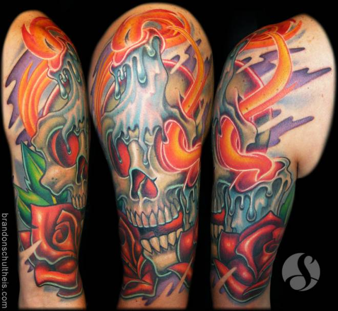 Candle Burning On Skull Tattoo Design