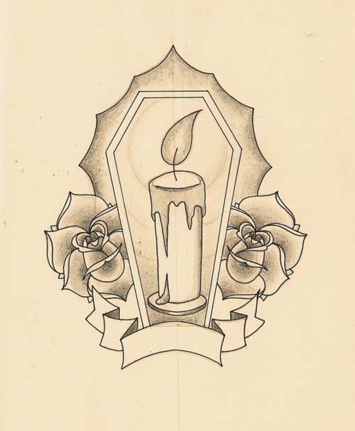 Candle Roses & Banner Tattoo Design