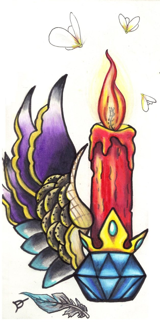 Candle With Holder Tattoo Design