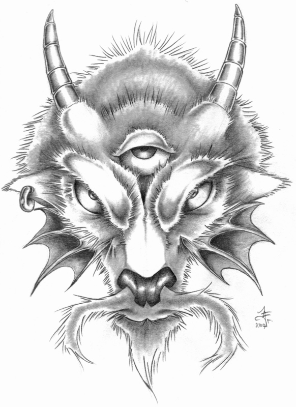 Capricorn Goat Head Tattoo Design